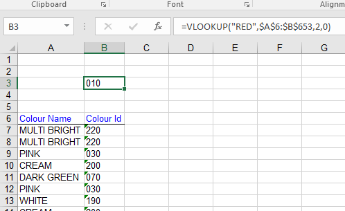 Vlookup with typed lookup value