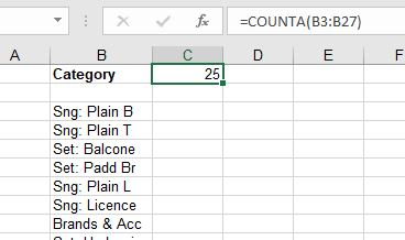 Example of COUNTA Function counting non-numerical values