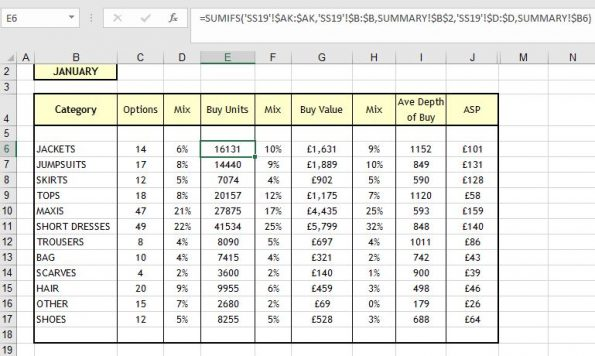 Excel SUMIFS example