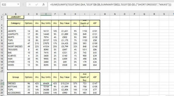 Excel SUMIFS Function with array constraint